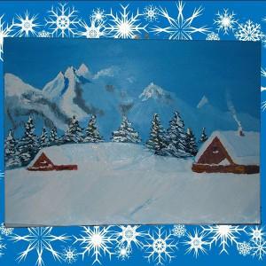 Дом в горах картина на холсте