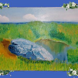 Синий Камень картина маслом на холсте
