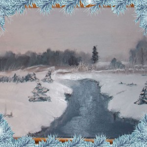 Зимняя река картина маслом