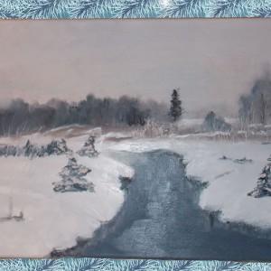 Река Зимой картина маслом