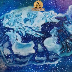 мистическая картина в стиле этно Космический Лось