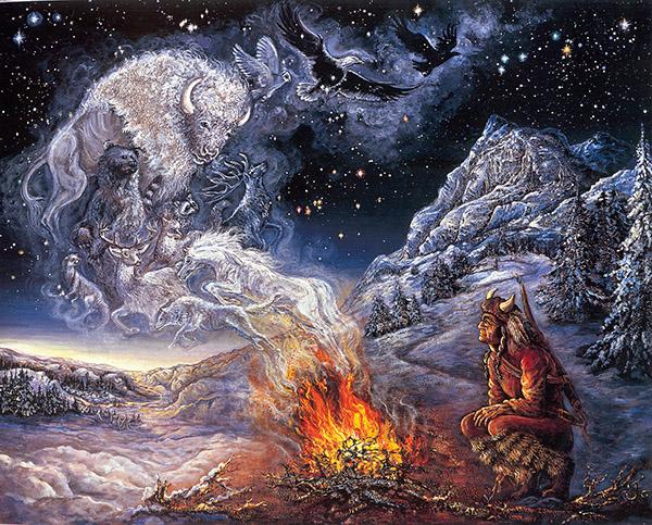 Шаман общается с духами тотемных животных