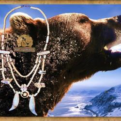 Ожерелье Дух медведя клыки зубы медведя