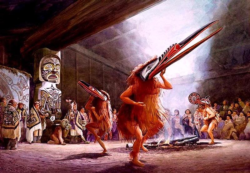 ритуал в масках шаманов