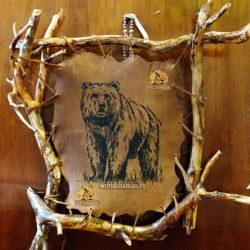 медведь панно из кожи эко стиль